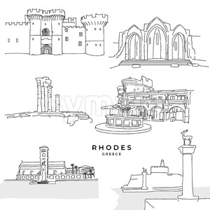 Rhodes Greece landmarks drawings Stock Vector