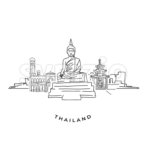 Thailand buddha and landmarks drawing. Hand-drawn vector illustration. Famous travel destinations series.