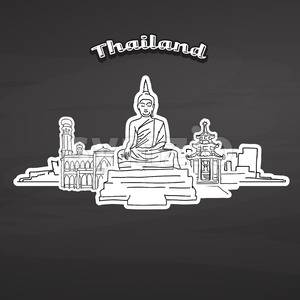 Thailand landmarks on blackboard Stock Vector