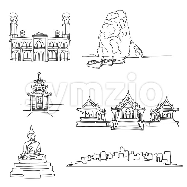 Thailand famous outline landmarks. Hand-drawn vector illustration. Famous travel destinations series.