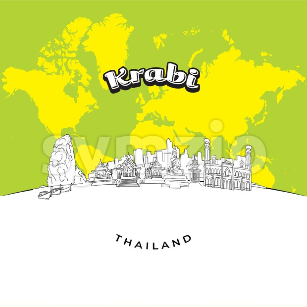 Krabi Thailand panorama drawing Stock Vector