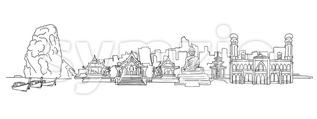 Thailand panorama drawing. Hand-drawn vector illustration. Famous travel destinations series.