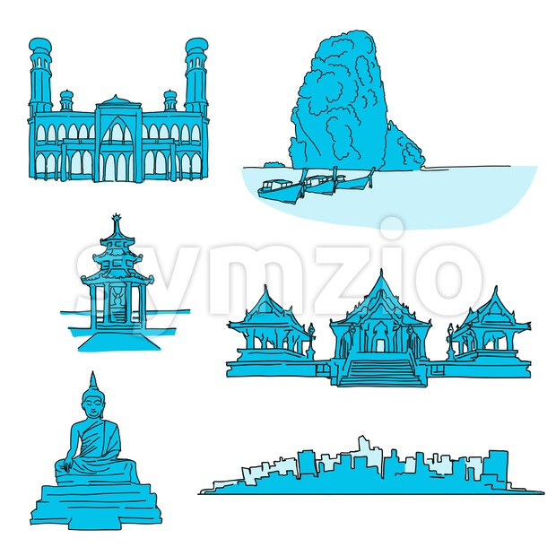 Thailand famous landmarks. Hand-drawn vector illustration. Famous travel destinations series.