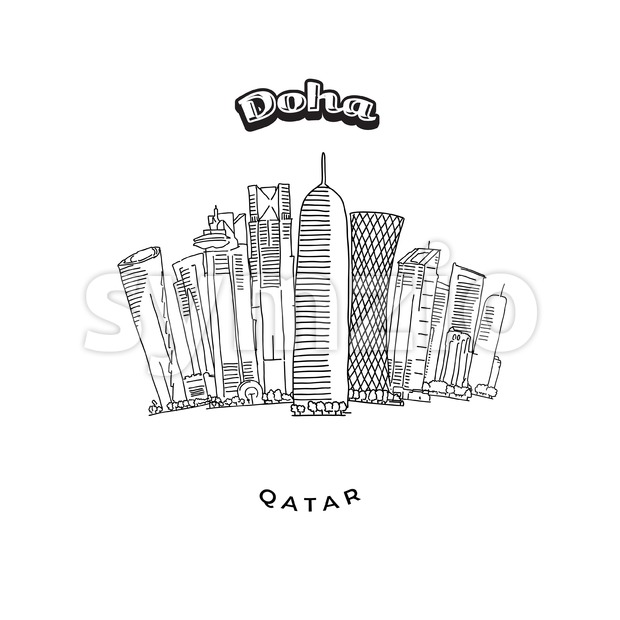Doha Towers Skyline Stock Vector