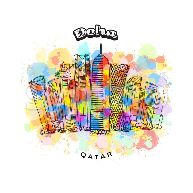Doha Qatar colorful skyline Stock Vector