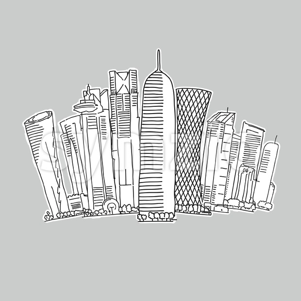 Doha Qatar skyline drawing Stock Vector