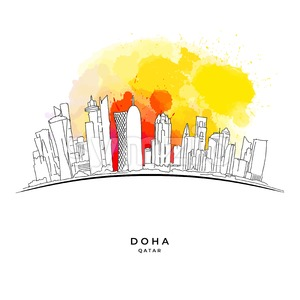 Doha Qatar skyline on colorful background Stock Vector