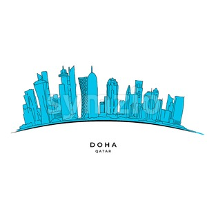 Doha Qatar outline sketch Stock Vector
