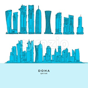 Doha Qatar Skyscraper set Stock Vector