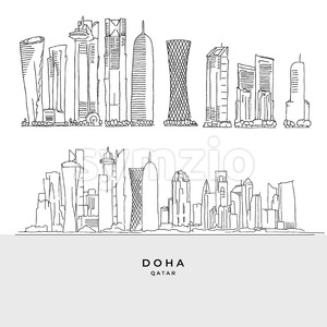 Doha Qatar skyscaper set Stock Vector