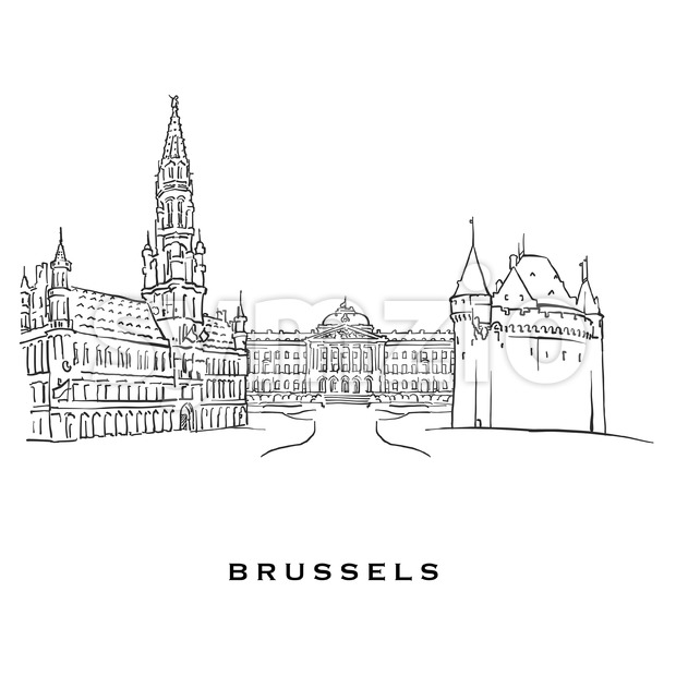 Brussels Belgium famous architecture Stock Vector