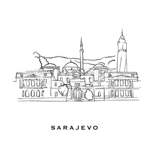 Sarajevo Bosnia and Herzegovina famous architecture Stock Vector