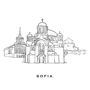 Sofia Bulgaria famous architecture Stock Vector
