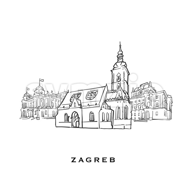 Zagreb Croatia famous architecture Stock Vector