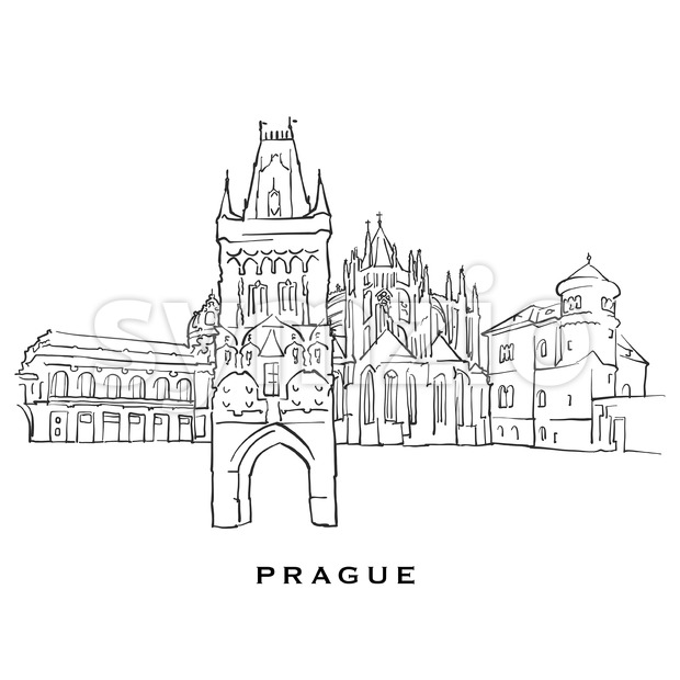 Prague Czech Republic famous architecture. Outlined vector sketch separated on white background. Architecture drawings of all European capitals.