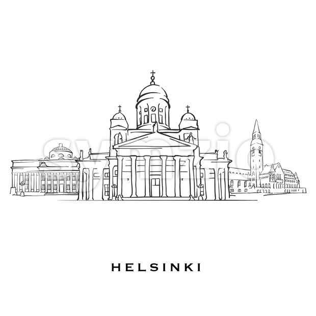 Helsinki Finland famous architecture. Outlined vector sketch separated on white background. Architecture drawings of all European capitals.