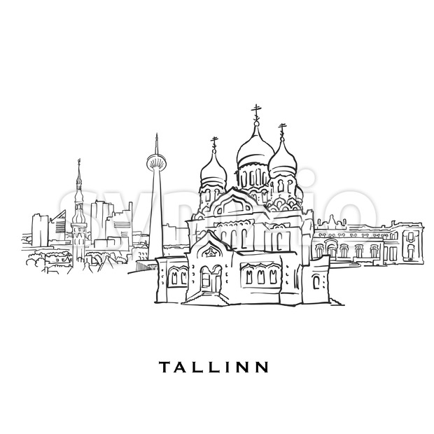 Tallinn Estonia famous architecture Stock Vector
