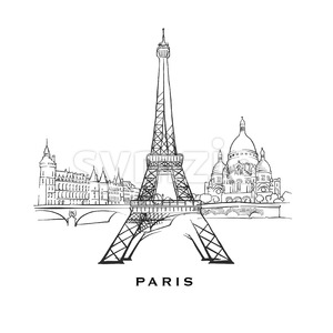 Paris France famous architecture Stock Vector