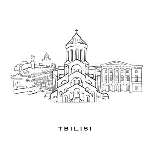 Tbilisi Georgia famous architecture Stock Vector