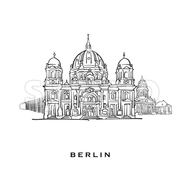 Berlin Germany famous architecture. Outlined vector sketch separated on white background. Architecture drawings of all European capitals.