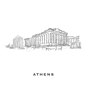 Athens Greece famous architecture Stock Vector
