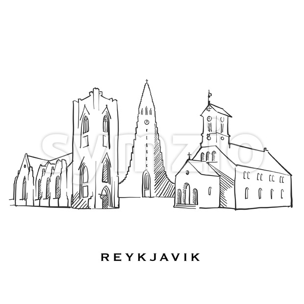 Reykjavik Iceland famous architecture Stock Vector