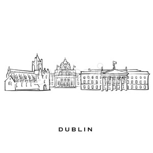 Dublin Ireland famous architecture Stock Vector