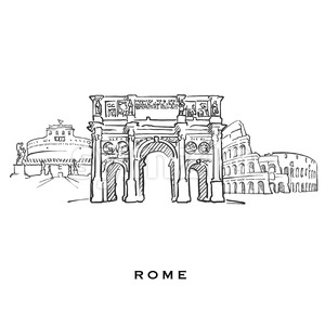 Rome Italy famous architecture Stock Vector
