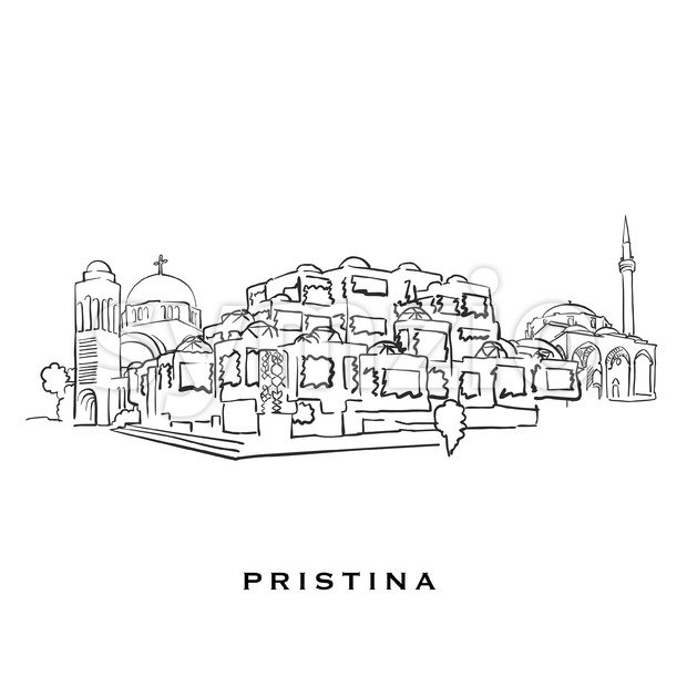 Pristina Kosovo famous architecture. Outlined vector sketch separated on white background. Architecture drawings of all European capitals.