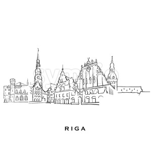 Riga Latvia famous architecture Stock Vector