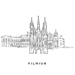 Vilnius Lithuania famous architecture Stock Vector