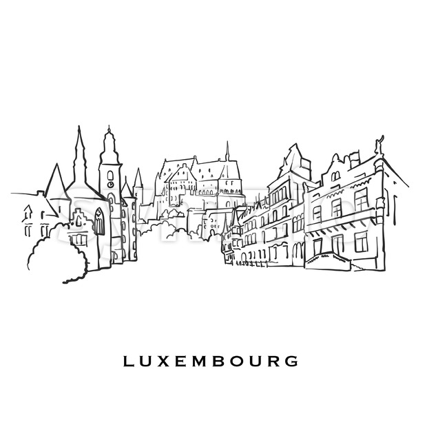 Luxembourg famous architecture. Outlined vector sketch separated on white background. Architecture drawings of all European capitals.