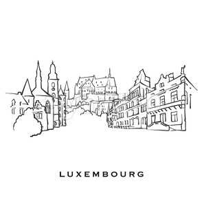 Luxembourg famous architecture Stock Vector