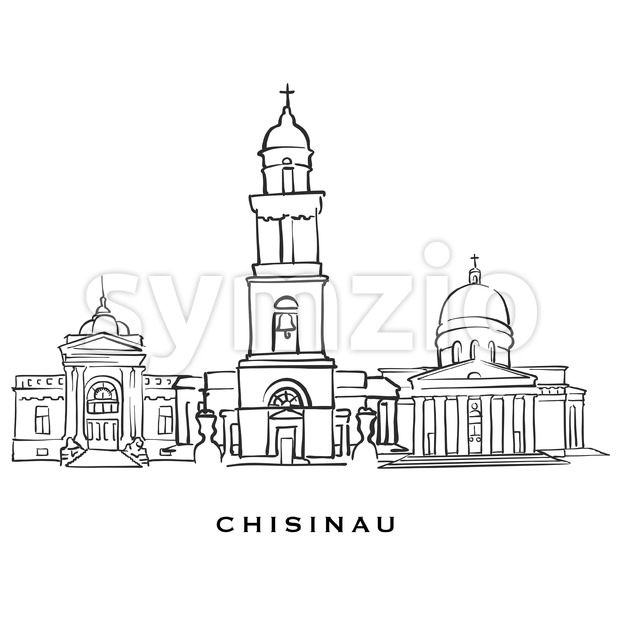 Chisinau Moldova famous architecture. Outlined vector sketch separated on white background. Architecture drawings of all European capitals.