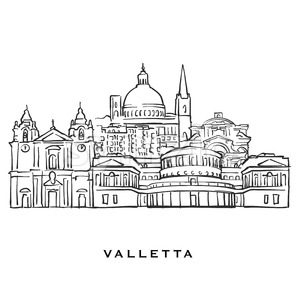 Valletta Malta famous architecture Stock Vector