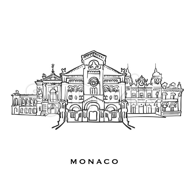 Monaco famous architecture. Outlined vector sketch separated on white background. Architecture drawings of all European capitals.