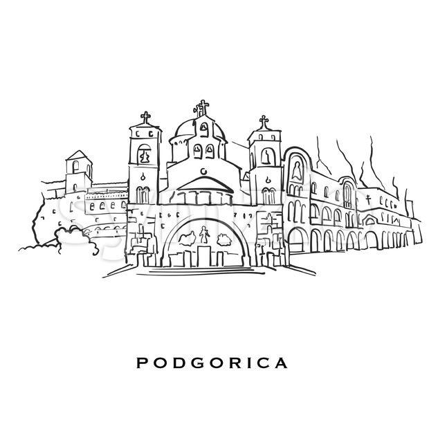 Podgorica Montenegro famous architecture. Outlined vector sketch separated on white background. Architecture drawings of all European capitals.