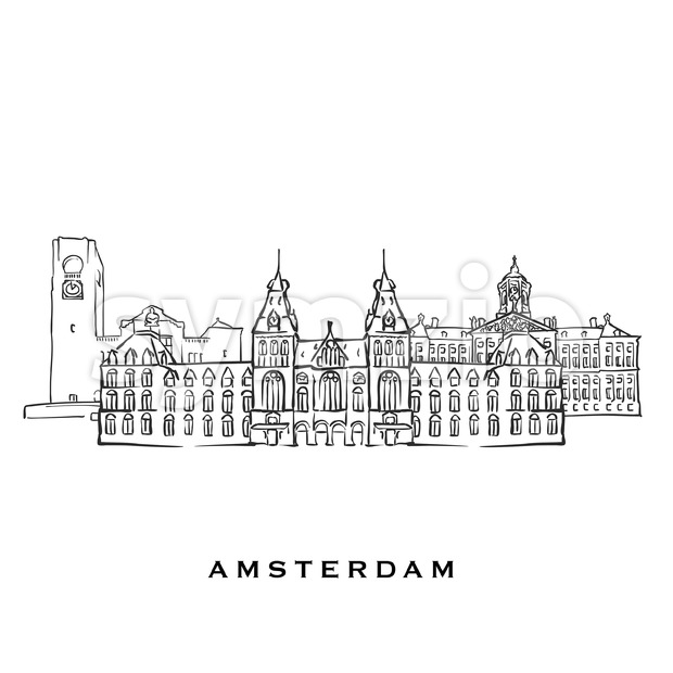Amsterdam Netherlands famous architecture. Outlined vector sketch separated on white background. Architecture drawings of all European capitals.