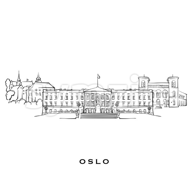 Oslo Norway famous architecture Stock Vector