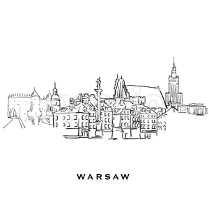 Warsaw Poland famous architecture Stock Vector