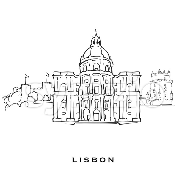 Lisbon Portugal famous architecture. Outlined vector sketch separated on white background. Architecture drawings of all European capitals.