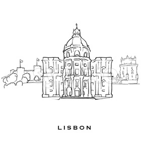 Lisbon Portugal famous architecture Stock Vector