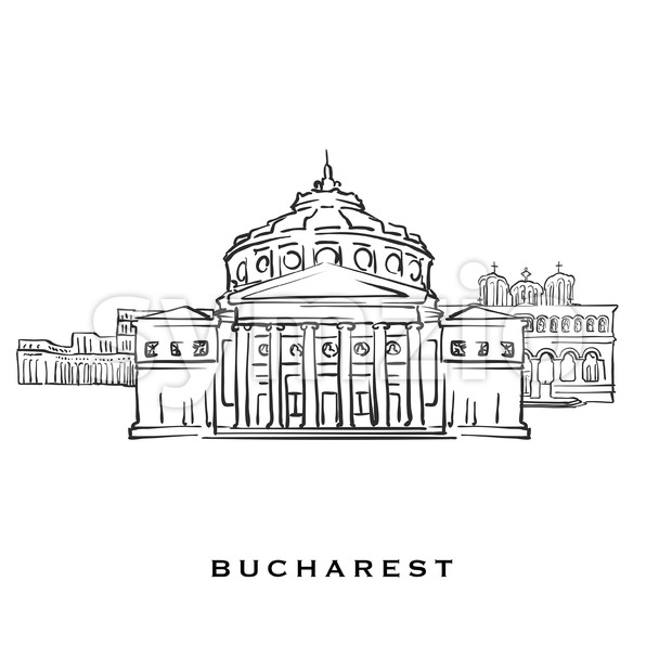 Bucharest Romania famous architecture Stock Vector