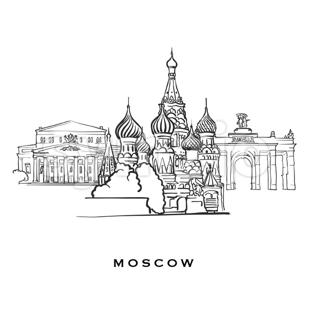 Moscow Russia famous architecture. Outlined vector sketch separated on white background. Architecture drawings of all European capitals.