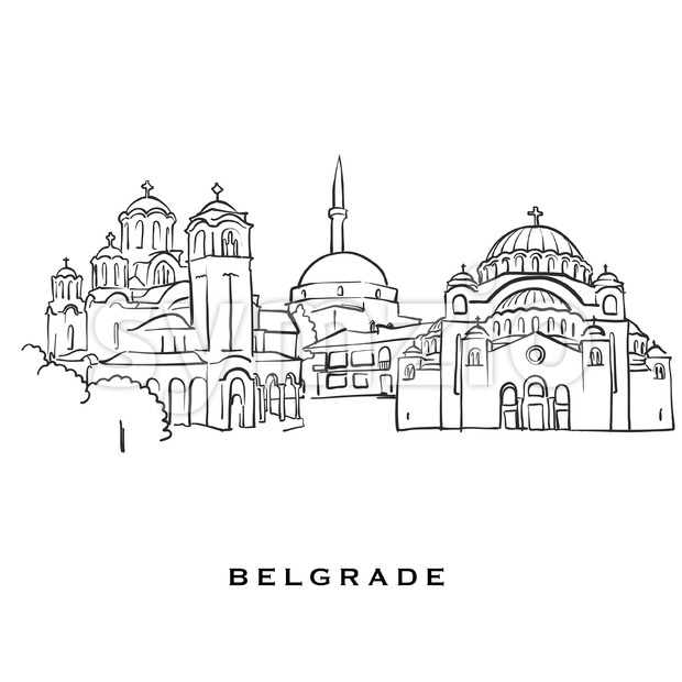 Belgrade Serbia famous architecture Stock Vector