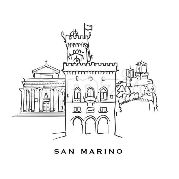 San Marino famous architecture. Outlined vector sketch separated on white background. Architecture drawings of all European capitals.