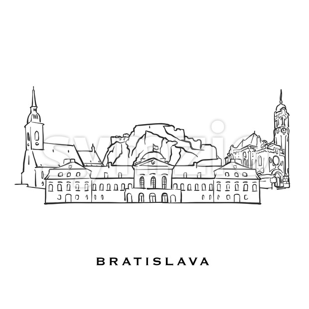 Bratislava Slovakia famous architecture. Outlined vector sketch separated on white background. Architecture drawings of all European capitals.