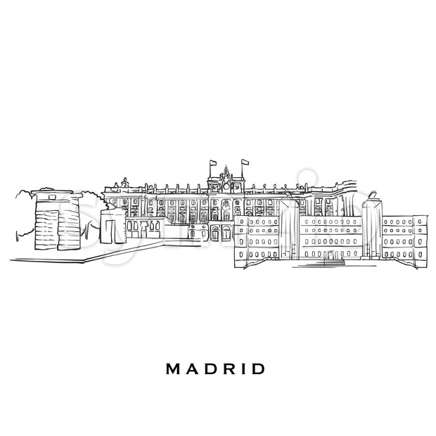 Madrid Spain famous architecture Stock Vector
