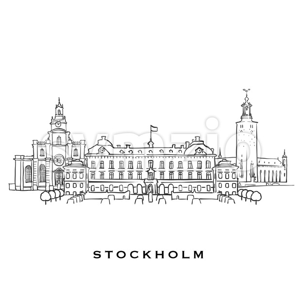 Stockholm Sweden famous architecture. Outlined vector sketch separated on white background. Architecture drawings of all European capitals.