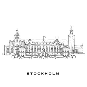 Stockholm Sweden famous architecture Stock Vector